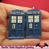 3 pc Large POLICE BOX Blue Sci-Fi Box  Decoden Kawaii Resin Flatback Cabochons 43x23mm - Rockin Resin  - 2