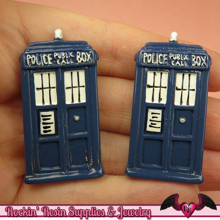 3 pc Large POLICE BOX Blue Sci-Fi Box  Decoden Kawaii Resin Flatback Cabochons 43x23mm