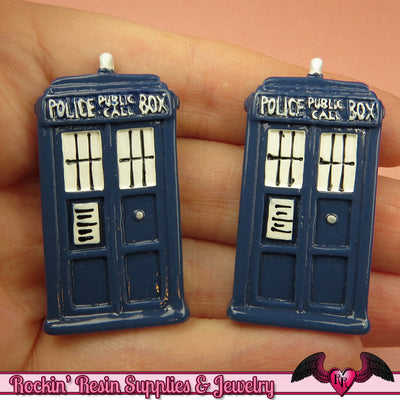 3 pc Large POLICE BOX Blue Sci-Fi Box  Decoden Kawaii Resin Flatback Cabochons 43x23mm - Rockin Resin  - 1