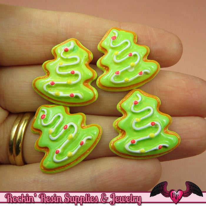 4 pcs CHRISTMAS TREE Holiday Resin Flatback Decoden Cabochons 22x20mm