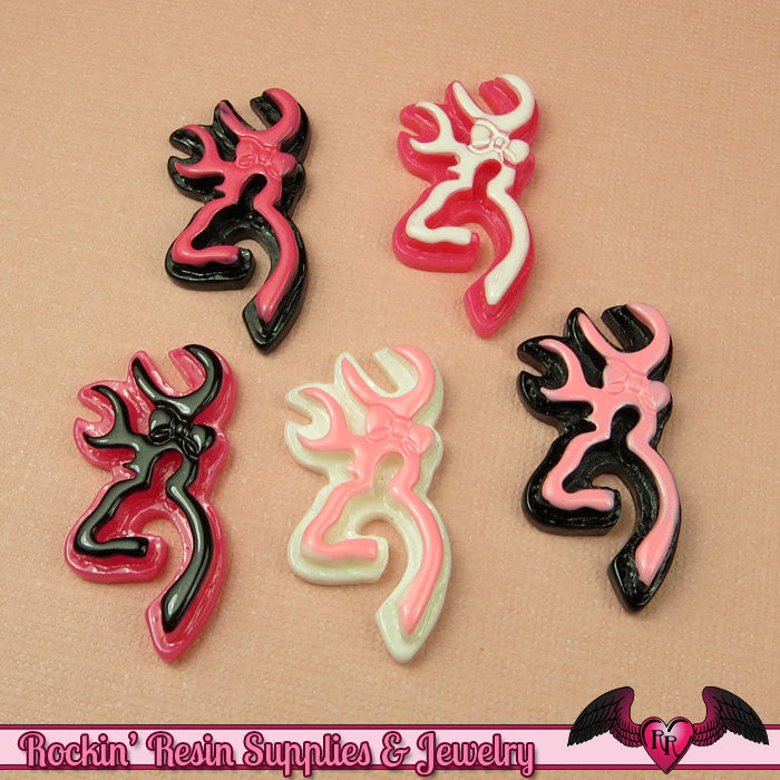 5 pc DEER with BOW ANTLERS Flatback Decoden Cabochon 30x15mm