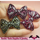 4 pcs LEOPARD ANIMAL PRINT Bows Decoden Resin Kawaii Cabochons 43x31mm - Rockin Resin  - 1