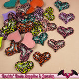 5 pcs LEOPARD ANIMAL PRINT Puffy Hearts Decoden Flatback Kawaii Cabochon 32x25mm - Rockin Resin  - 2