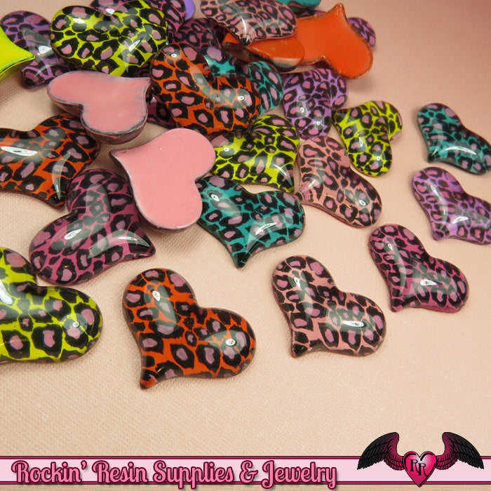 5 pcs LEOPARD ANIMAL PRINT Puffy Hearts Decoden Flatback Kawaii Cabochon 32x25mm