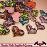 5 pcs LEOPARD ANIMAL PRINT Puffy Hearts Decoden Flatback Kawaii Cabochon 32x25mm - Rockin Resin  - 1