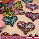 5 pcs LEOPARD ANIMAL PRINT Puffy Hearts Decoden Flatback Kawaii Cabochon 32x25mm - Rockin Resin  - 3