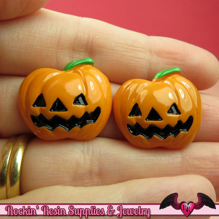 5 pcs JACKOLANTERN Pumpkin Halloween Resin Flatback Decoden Cabochons 23x21mm - Rockin Resin