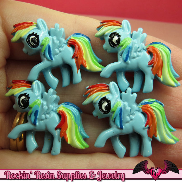 4 pc Blue PONY PEGASUS Flatback Decoden Resin Kawaii Cabochons