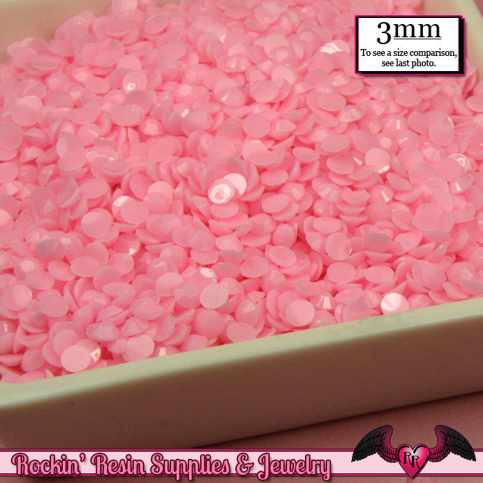 300 pcs 3mm Pastel SOFT PINK Decoden Faceted Flatback Candy Rhinestones - Rockin Resin  - 1