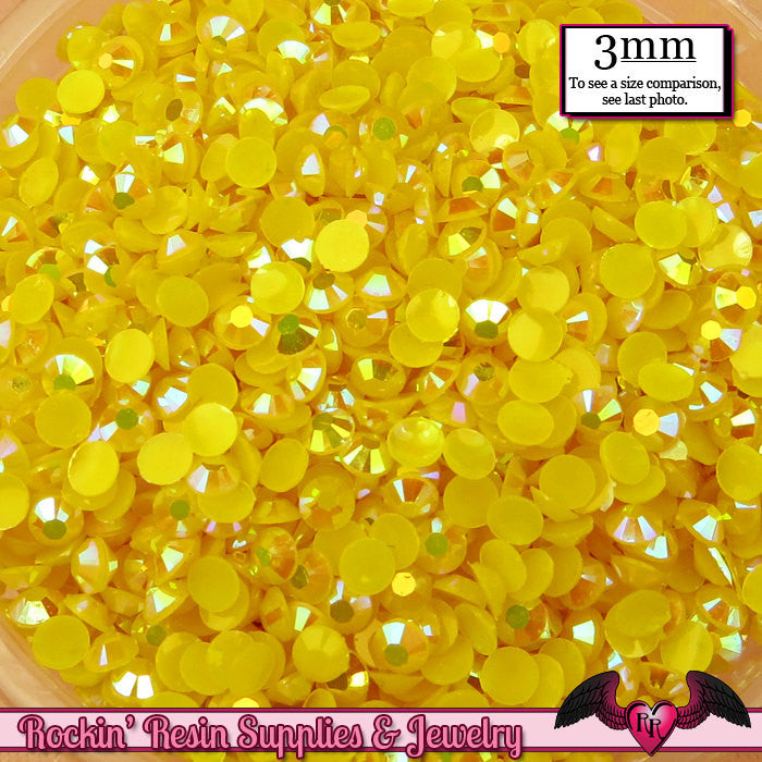 300 pcs 3mm AB SUNSHINE YELLOW Jelly Decoden Faceted Flatback Candy Rhinestones - Rockin Resin  - 1
