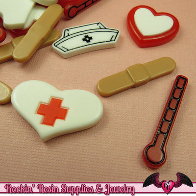 5 pcs MEDICAL Nurse Related Decoden Flatback Kawaii Cabochons - Rockin Resin