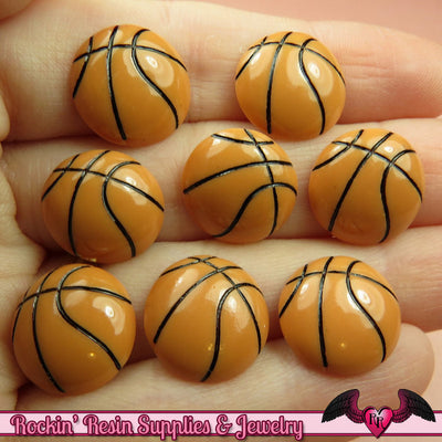 8 pcs BASKETBALL Sports Resin Flatback Decoden Cabochons 15mm - Rockin Resin