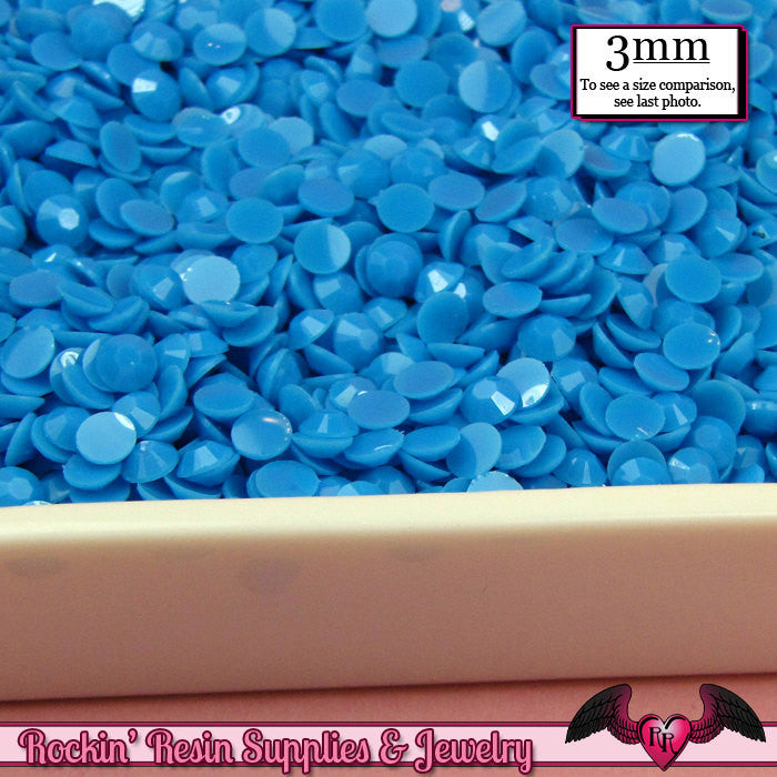 300 pcs 3mm PASTEL JELLY BLUE Decoden Faceted Flatback Candy Rhinestones