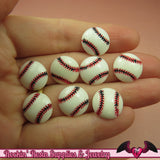 8 pcs BASEBALL Sports Resin Flatback Decoden Kawaii Cabochons 14mm - Rockin Resin