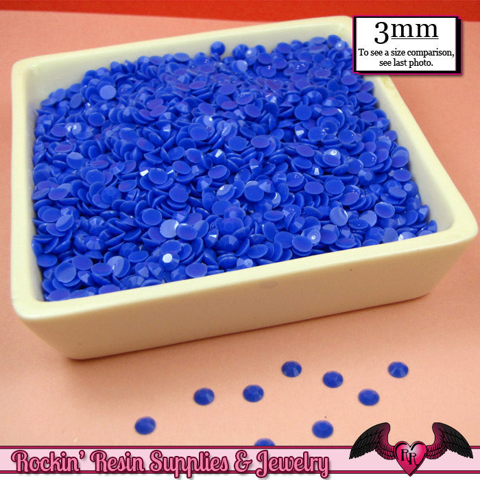 300 pcs 3mm LAPIS BLUE Jelly Decoden Faceted Flatback Candy Rhinestones