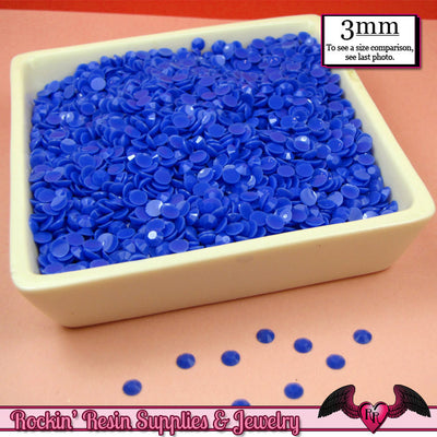 300 pcs 3mm LAPIS BLUE Jelly Decoden Faceted Flatback Candy Rhinestones - Rockin Resin  - 1