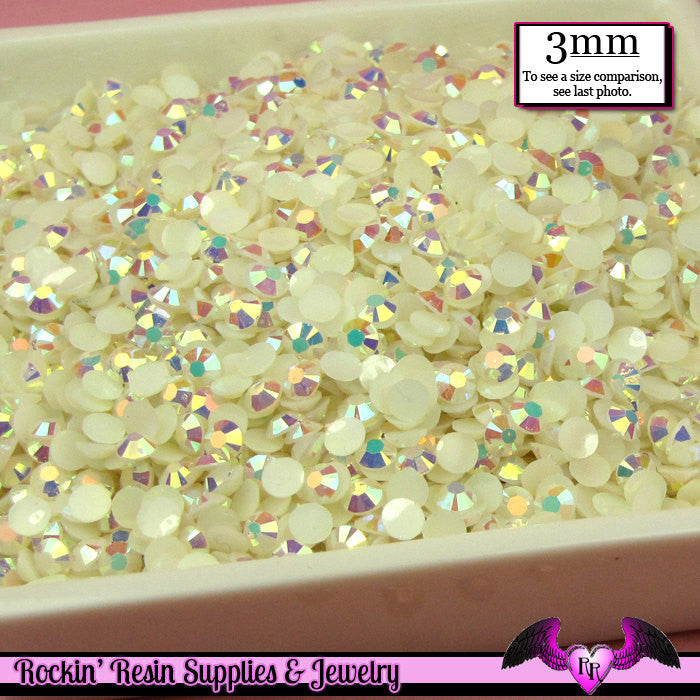 300 pcs 3mm AB Jelly IVORY Decoden Faceted Flatback Candy Rhinestones