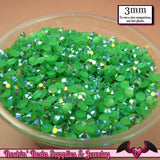 300 pcs 3mm AB GRASS GREEN Jelly Decoden Faceted Flatback Candy Rhinestones - Rockin Resin  - 2