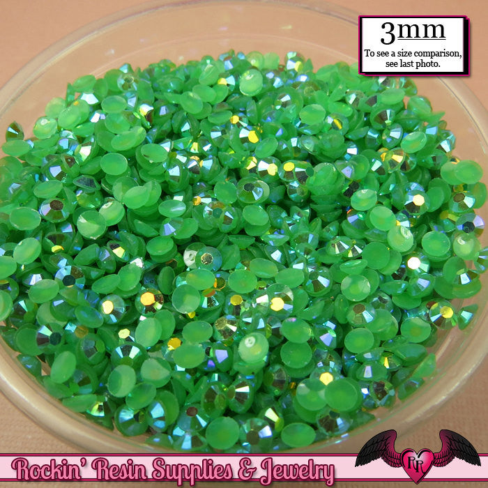 300 pcs 3mm AB GRASS GREEN Jelly Decoden Faceted Flatback Candy Rhinestones