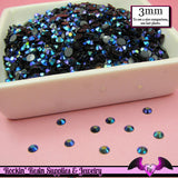 300 pcs 3mm AB BLUE PEACOCK Black Jelly Decoden Faceted Flatback Rhinestones - Rockin Resin  - 1