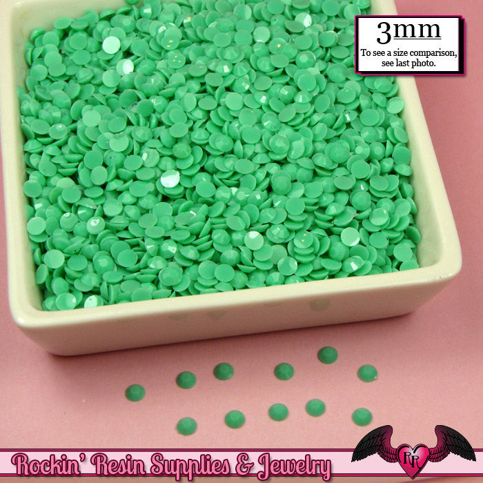 300 pcs 3mm Pastel SEAFOAM GREEN Decoden Faceted Flatback Candy Rhinestones - Rockin Resin  - 1