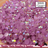 300 pcs 3mm AB LAVENDER PURPLE Jelly Decoden Faceted Flatback Candy Rhinestones - Rockin Resin  - 1