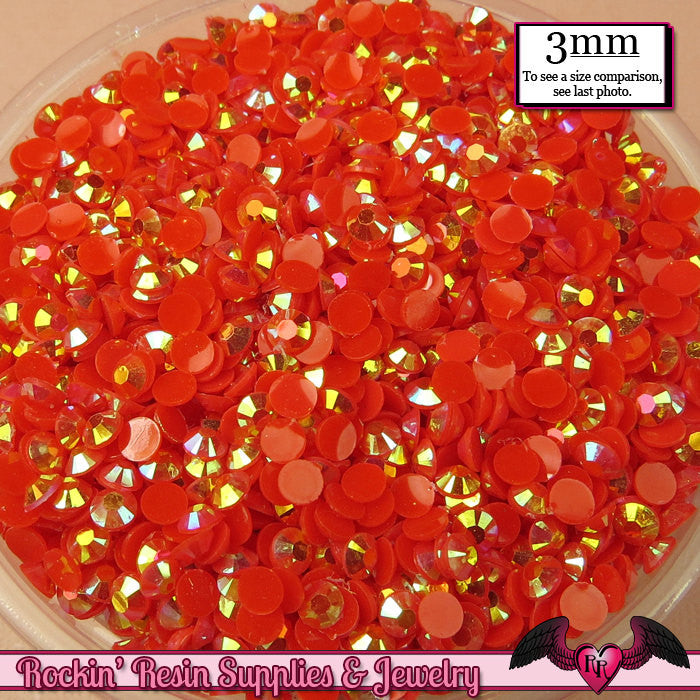 300 pcs 3mm AB RED Jelly Decoden Faceted Flatback Candy Rhinestones
