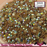 300 pcs 3mm AB BROWN Jelly Decoden Faceted Flatback Candy Rhinestones - Rockin Resin  - 2