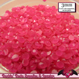 300 pcs 3mm HOT PINK Jelly Decoden Faceted Flatback Candy Rhinestones - Rockin Resin  - 2
