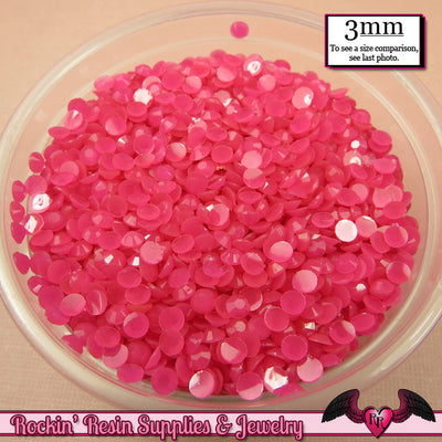 300 pcs 3mm HOT PINK Jelly Decoden Faceted Flatback Candy Rhinestones - Rockin Resin  - 1