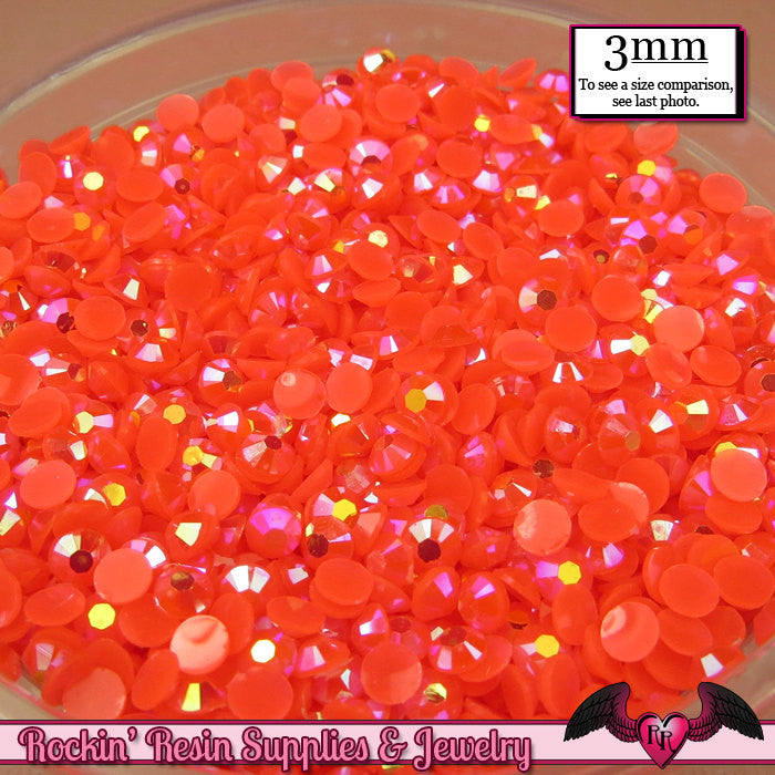 300 pcs 3mm AB CORAL Jelly Decoden Faceted Flatback Candy Rhinestones