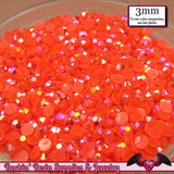 300 pcs 3mm AB CORAL Jelly Decoden Faceted Flatback Candy Rhinestones - Rockin Resin  - 1