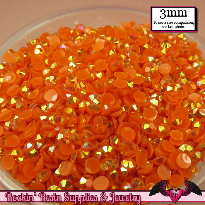 300 pcs 3mm AB DARK ORANGE Jelly Decoden Faceted Flatback Candy Rhinestones