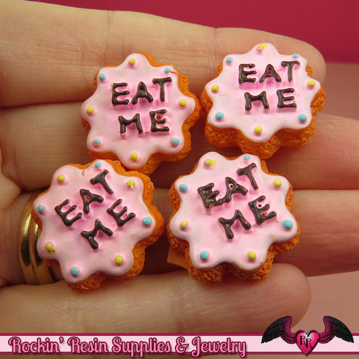 6 pieces EAT ME COOKIE Resin Kawaii Cabochons 22mm - Rockin Resin