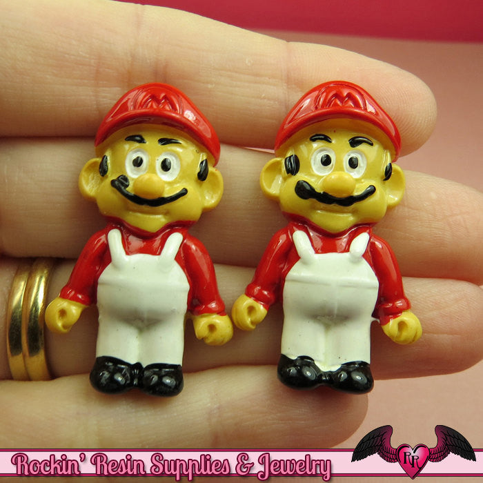 4pc Mario Character Video Game Flatback Resin Cabochons