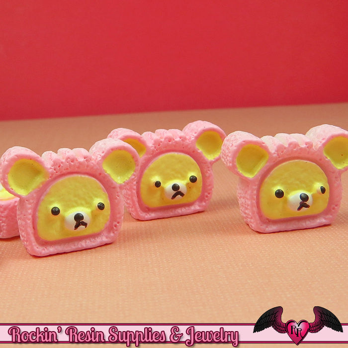 5 pieces PINK BEAR HEAD Pastry Decoden Kawaii Cabochons - Rockin Resin  - 1