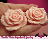2 pcs 42mm Light Pink ROSES Resin Flower Cabochons / Decoden Flatback Cabochon - Rockin Resin  - 2