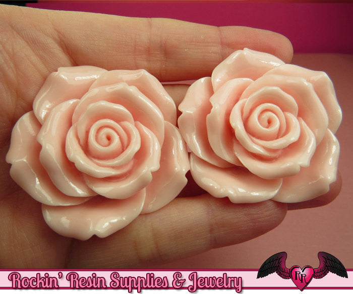 2 pcs 42mm Light Pink ROSES Resin Flower Cabochons / Decoden Flatback Cabochon