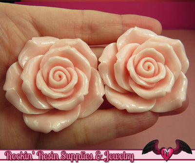 2 pcs 42mm Light Pink ROSES Resin Flower Cabochons / Decoden Flatback Cabochon - Rockin Resin  - 1