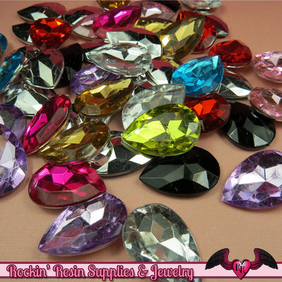 12 pcs ACRYLIC GEMS Faceted Teardrop Decoden Rhinestones 25mm - Rockin Resin  - 1