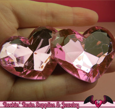 42mm HUGE HEART GEMS Pink Acrylic Faceted Rhinestones - Rockin Resin