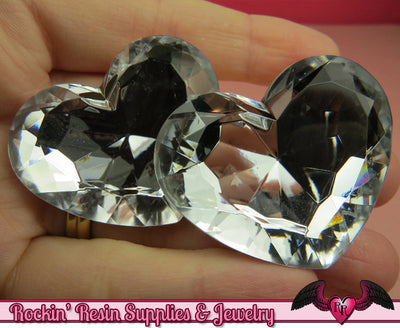 42mm HUGE HEART GEMS Clear Mirror Acrylic Faceted Rhinestones - Rockin Resin  - 1