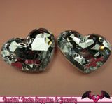42mm HUGE HEART GEMS Clear Mirror Acrylic Faceted Rhinestones - Rockin Resin  - 2