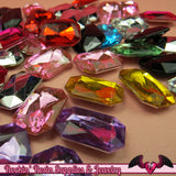 12 pcs Emerald Cut ACRYLIC GEMS Faceted Decoden Rhinestones 18 x 13 mm - Rockin Resin  - 2