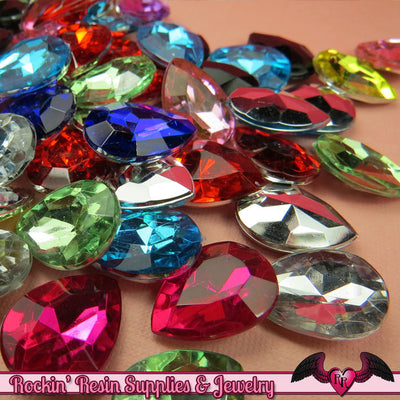 12 pcs ACRYLIC GEMS Small Faceted Teardrop Decoden Rhinestones 18x13mm - Rockin Resin  - 1