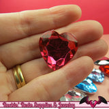 10 pcs HEART ACRYLIC GEMS Faceted Decoden Rhinestones 25mm - Rockin Resin  - 3