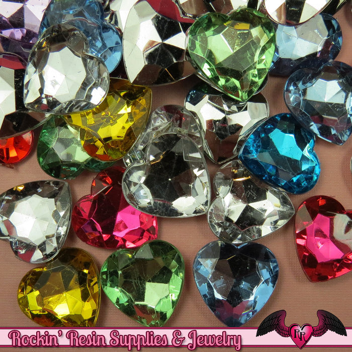 10 pcs HEART ACRYLIC GEMS Faceted Decoden Rhinestones 25mm