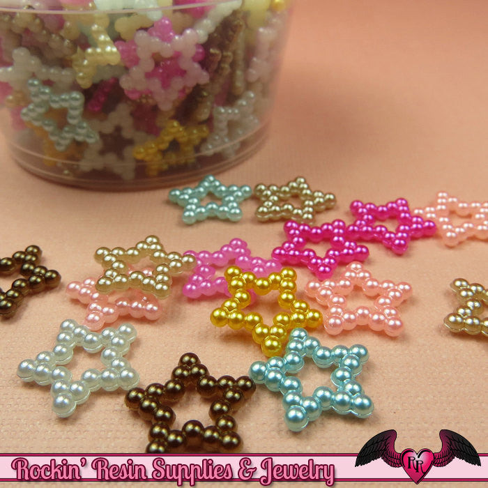 50 Pcs Pearlized STARS Decoden Flatback Kawaii Cabochons 12mm - Rockin Resin  - 1