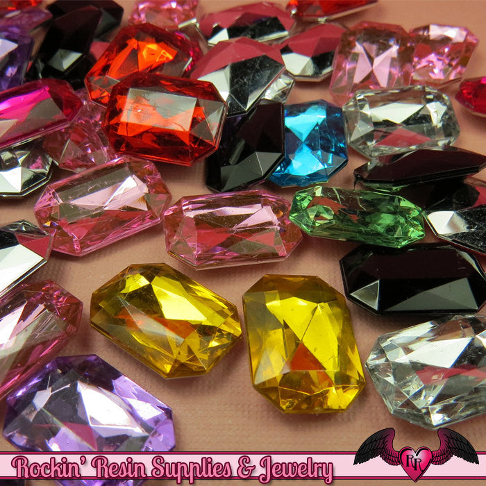 12 pcs Emerald Cut ACRYLIC GEMS Faceted Decoden Rhinestones 18 x 13 mm