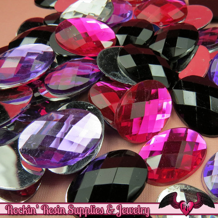 10 pcs ACRYLIC GEMS Oval Faceted Flatback Decoden Rhinestones 18 x 25mm